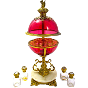 Super Antique French Palais Royal Ruby Red Spherical Perfume Casket