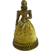 Unusual Antique Gilt Pin Cushion of a Lady in Period Dress
