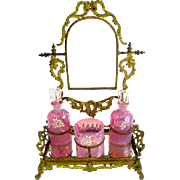 Large Antique French Pink Opaline Glass Dressing Table Set