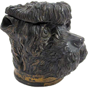 Antique Austrian Terracotta Tobacco Jar and Cover in the Shape of a Dog's Head.