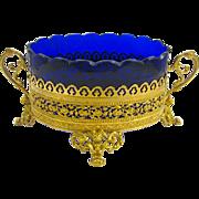 Napoleon III Dore Bronze and Blue Crystal Jardiniere.