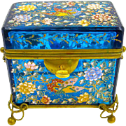 Antique MOSER Bohemian Turquoise Casket Box Enamelled with Colourful Butterflies and Flowers Throughout.