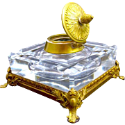 Antique Napoleon III Cut Crystal Inkwell with Fine Dore Bronze Mounts.