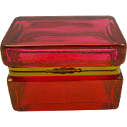Italian Murano Cranberry Red Glass Casket Box
