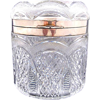 Antique Highly Cut Oval Crystal Casket Box with Silver Mounts.