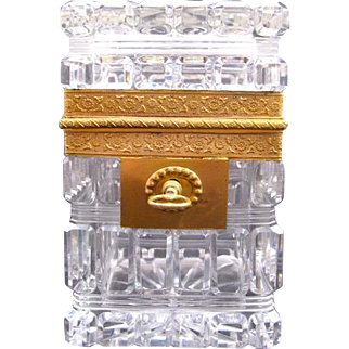 Antique BACCARAT Charles X Highly Cut Crystal Casket with Key