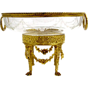 Antique Napoleon III Dore Bronze and Crystal Centrepiece with Fabulous Double Loop Handles.