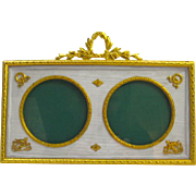 Antique Empire Double Frame with Cream French Silk and Dore Bronze Detail
