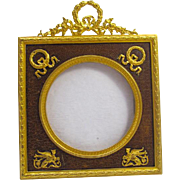 Antique French Empire Leather and Dore Bronze Frame with Classical Motifs.