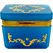 Murano Gino Cenedese Blue Opaline Glass Casket Box with Gold Enamelling
