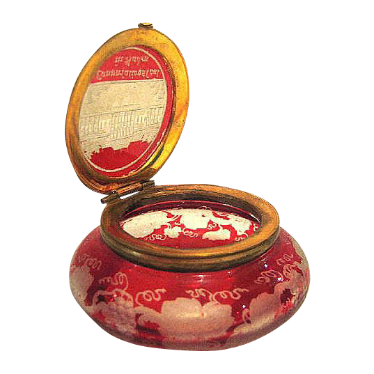 Mini Bohemian 19th Century Red Engraved Pill box