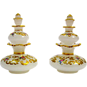Pair of RARE Bohemian Opaline Glass Double Perfume Bottles.