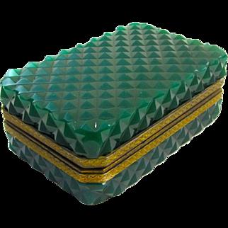 Italian Murano Dark Green Glass Casket Box