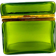 Italian Murano Green Crystal Rectangular Casket Box with Smooth Mounts and Lift Clasp.