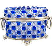 Large Baccarat Blue Cut Crystal Casket Box