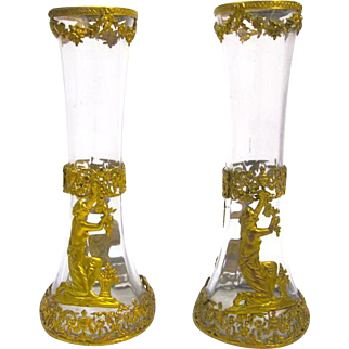 Pair of Antique Empire Crystal and Dore Bronze Vases Depicting a Classical Figure Arranging Flowers.