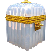 Antique Circa 1820 French 'Bulle de Savon' Opaline Glass Casket Box