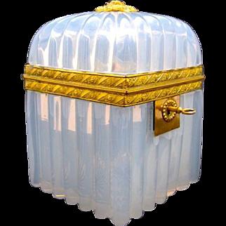 Antique Circa 1820 French 'Bulle de Savon' Opaline Glass Casket Box