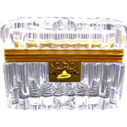 Antique Baccarat Cut Crystal Casket with Key