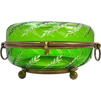 Antique french Green & Clear Crystal Casket Box