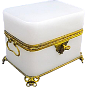 Large Antique French White Opaline Casket with Double Handles