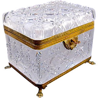 Large Antique French Baccarat Cut Crystal Casket Box