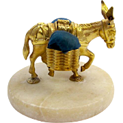 Antique French Dore Bronze Donkey Double Pin Cushion Beautifully Sculptured on a Marble Base.