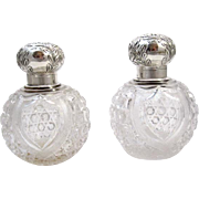Pair of High Quality Mappin & Webb Cut Crystal and Marked Silver 1898 Perfume Bottles.