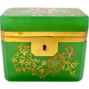 Antique Green Opaline Casket Box with Enamelled Flowers.
