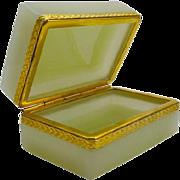 Italian Murano Yellow Opaline Glass Casket Box