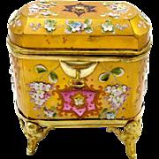 Antique MOSER Cranberry Casket Box & Key