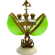 An Antique Palais Royal Green Opaline Glass Perfume Casket Box
