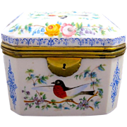 Stunning High Quality Antique French Opaline Casket Box with Multicoloured Birds.