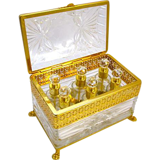 A French Crystal and Gilt Bronze Domed Perfume Casket Box.