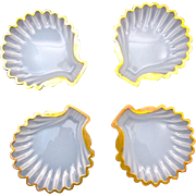 Set of Four Antique French White Opaline Glass Scallop Shell Dishes with Gold Undulating Rims.