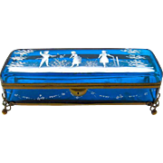 A Very Large Rectangular Turquoise Mary Gregory Casket Box.