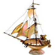 Antique French Mother oF Pearl Souvenir Boat Perfume Set