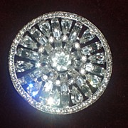 - Stunning and HUGE vintage rhinestone brooch