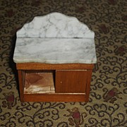Oak antique Schneegas doll house Marble top side board / buffet