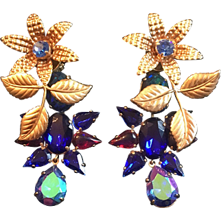 """Vintage Zoe Coste French Haute Couture 3"""" earrings - Stunning !"""
