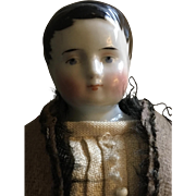 Sweet 1860's china head boy doll - Adorable !