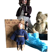Celofil a Very rare 1918 French cloth war doll w Box