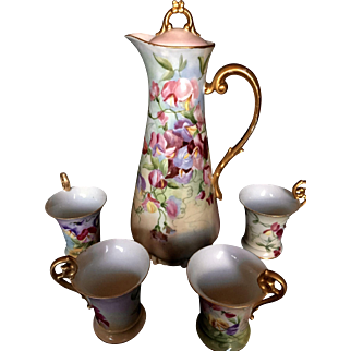 Antique French Limoges T&V Chocolate set Hand signed 1903