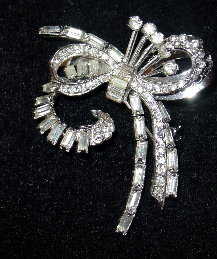 Vintage Sterling Rhinestone Floral / Bow Spray