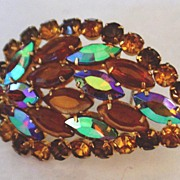 Vintage Autumn Leaf Juliana Brooch D&E open backed