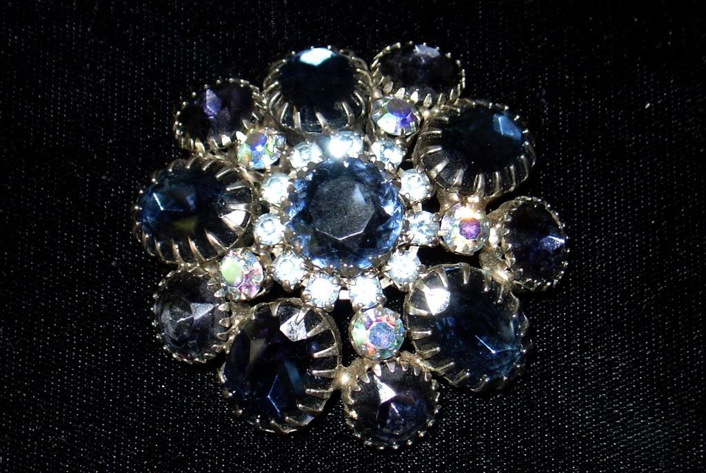 Dazzling Sapphire Domed Vintage Brooch