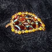 Wonderful Julian Amber and Blue green aurora borealis rhinestone brooch