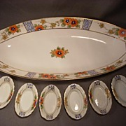 Lovely Hand Painted Nippon Celery Set, Large Master Bowl with 6 Salts