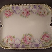 Lovely Porcelain Dresser Tray with Rose Transfer PK Silesia