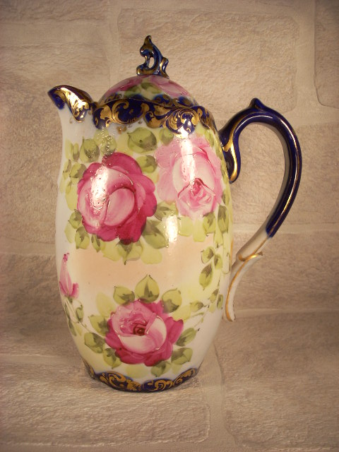 Nippon Chocolate Pot with Hand Painted Roses and Cobalt Trim